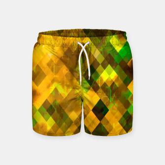 geometric square pixel pattern abstract background in brown green yellow Swim Shorts thumbnail image