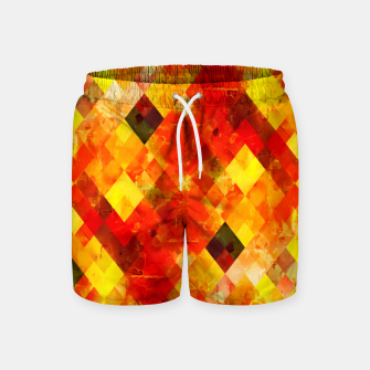 geometric square pixel pattern abstract background in red yellow Swim Shorts thumbnail image