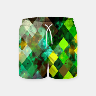 geometric square pixel pattern abstract background in green yellow brown Swim Shorts thumbnail image