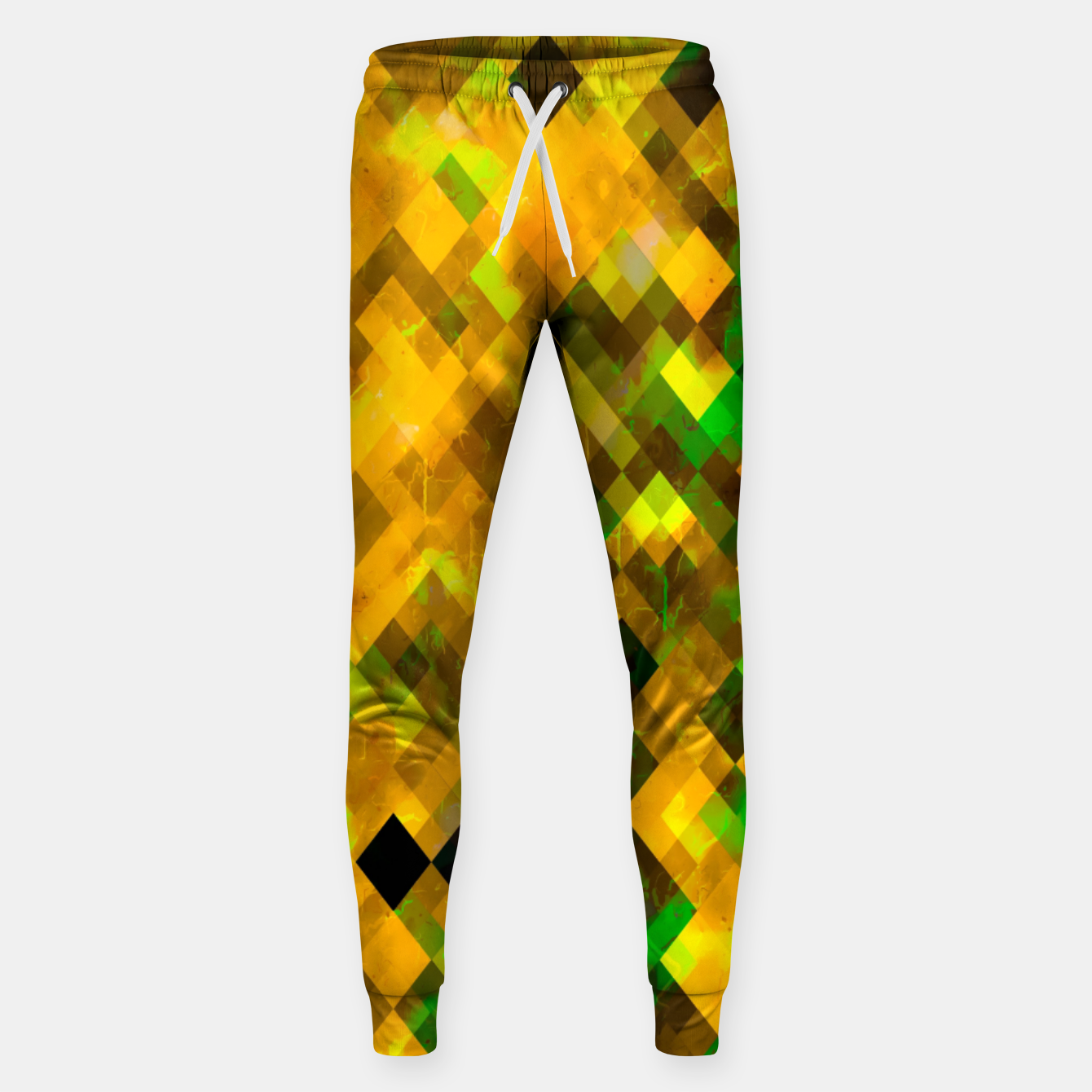 Image of geometric square pixel pattern abstract background in brown green yellow Sweatpants - Live Heroes