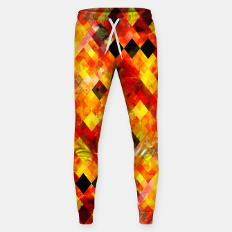 geometric square pixel pattern abstract background in red yellow Sweatpants thumbnail image