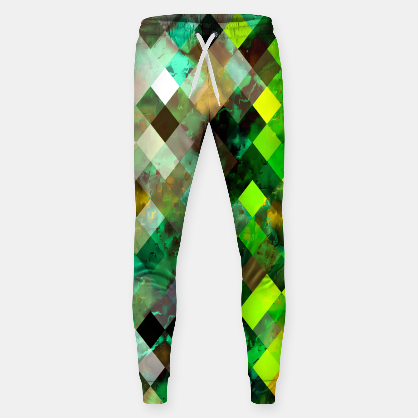 Image of geometric square pixel pattern abstract background in green yellow brown Sweatpants - Live Heroes