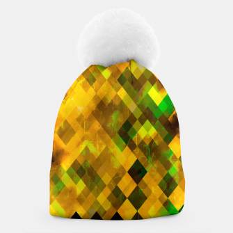 geometric square pixel pattern abstract background in brown green yellow Beanie thumbnail image