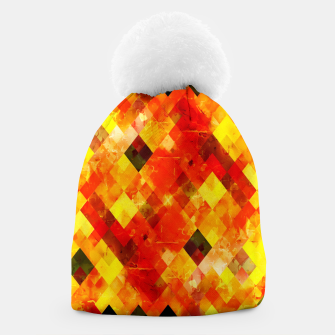 geometric square pixel pattern abstract background in red yellow Beanie thumbnail image
