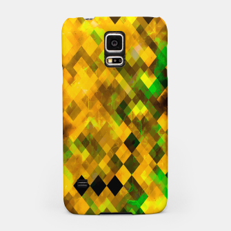 Miniatur geometric square pixel pattern abstract background in brown green yellow Samsung Case, Live Heroes