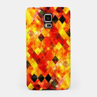 geometric square pixel pattern abstract background in red yellow Samsung Case thumbnail image