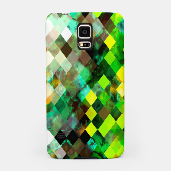 Miniatur geometric square pixel pattern abstract background in green yellow brown Samsung Case, Live Heroes