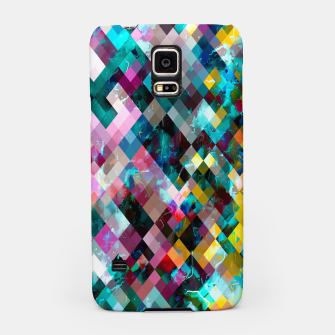 Miniatur geometric square pixel pattern abstract background in blue pink orange purple Samsung Case, Live Heroes