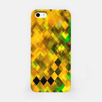 geometric square pixel pattern abstract background in brown green yellow iPhone Case thumbnail image