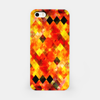 geometric square pixel pattern abstract background in red yellow iPhone Case thumbnail image