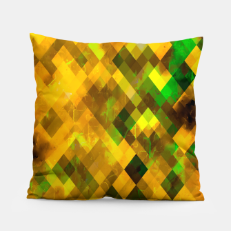 geometric square pixel pattern abstract background in brown green yellow Pillow thumbnail image