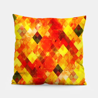 geometric square pixel pattern abstract background in red yellow Pillow thumbnail image