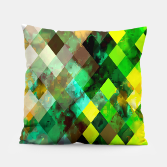 geometric square pixel pattern abstract background in green yellow brown Pillow thumbnail image