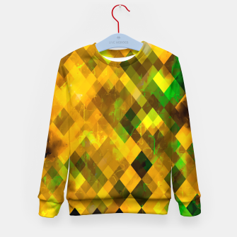 geometric square pixel pattern abstract background in brown green yellow Kid's sweater thumbnail image