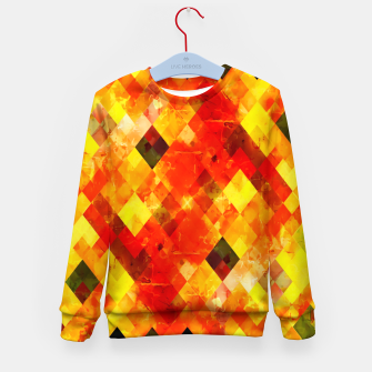 geometric square pixel pattern abstract background in red yellow Kid's sweater thumbnail image