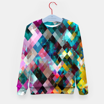 Imagen en miniatura de geometric square pixel pattern abstract background in blue pink orange purple Kid's sweater, Live Heroes