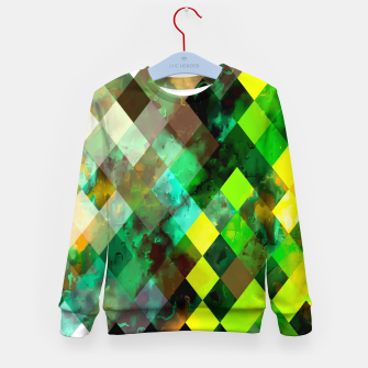 Imagen en miniatura de geometric square pixel pattern abstract background in green yellow brown Kid's sweater, Live Heroes