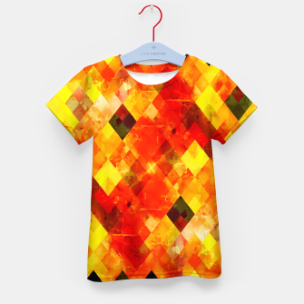geometric square pixel pattern abstract background in red yellow Kid's t-shirt thumbnail image
