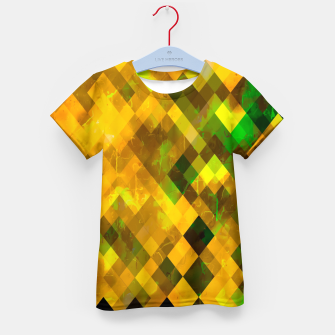 Imagen en miniatura de geometric square pixel pattern abstract background in brown green yellow Kid's t-shirt, Live Heroes