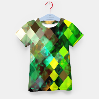 Imagen en miniatura de geometric square pixel pattern abstract background in green yellow brown Kid's t-shirt, Live Heroes
