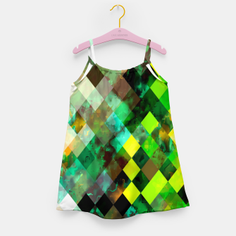 Miniature de image de geometric square pixel pattern abstract background in green yellow brown Girl's dress, Live Heroes