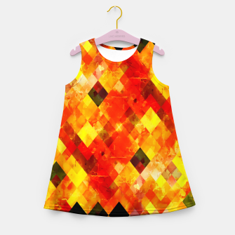 geometric square pixel pattern abstract background in red yellow Girl's summer dress thumbnail image