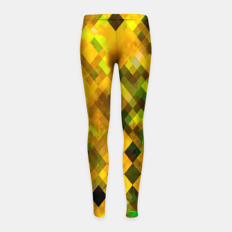 Thumbnail image of geometric square pixel pattern abstract background in brown green yellow Girl's leggings, Live Heroes