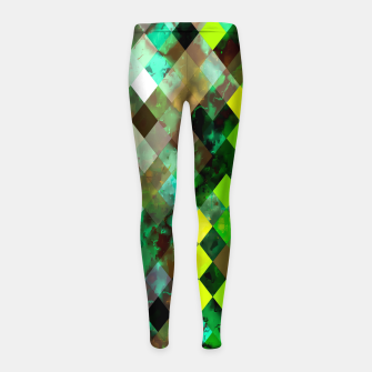 geometric square pixel pattern abstract background in green yellow brown Girl's leggings thumbnail image