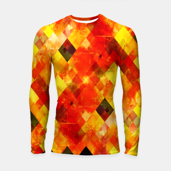 geometric square pixel pattern abstract background in red yellow Longsleeve rashguard  thumbnail image