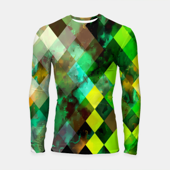 geometric square pixel pattern abstract background in green yellow brown Longsleeve rashguard  thumbnail image