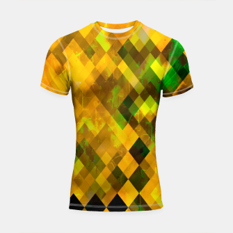 Imagen en miniatura de geometric square pixel pattern abstract background in brown green yellow Shortsleeve rashguard, Live Heroes