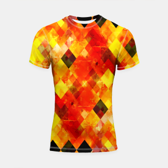 geometric square pixel pattern abstract background in red yellow Shortsleeve rashguard thumbnail image