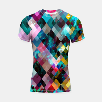 Imagen en miniatura de geometric square pixel pattern abstract background in blue pink orange purple Shortsleeve rashguard, Live Heroes