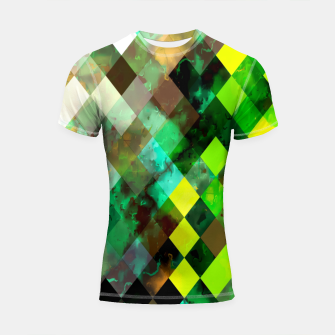 Imagen en miniatura de geometric square pixel pattern abstract background in green yellow brown Shortsleeve rashguard, Live Heroes