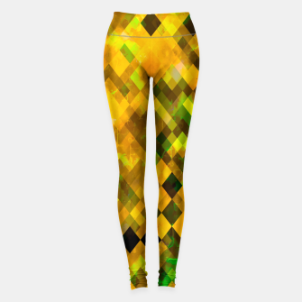 Miniaturka geometric square pixel pattern abstract background in brown green yellow Leggings, Live Heroes
