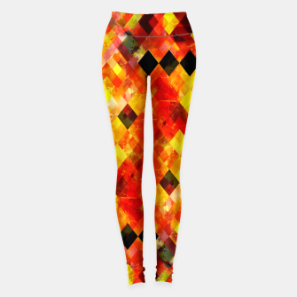 geometric square pixel pattern abstract background in red yellow Leggings thumbnail image