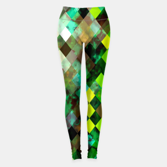 Miniature de image de geometric square pixel pattern abstract background in green yellow brown Leggings, Live Heroes
