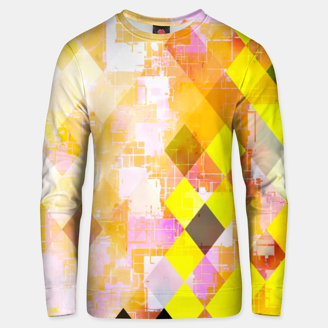 Image of geometric square pixel pattern abstract background in yellow green pink orange Unisex sweater - Live Heroes