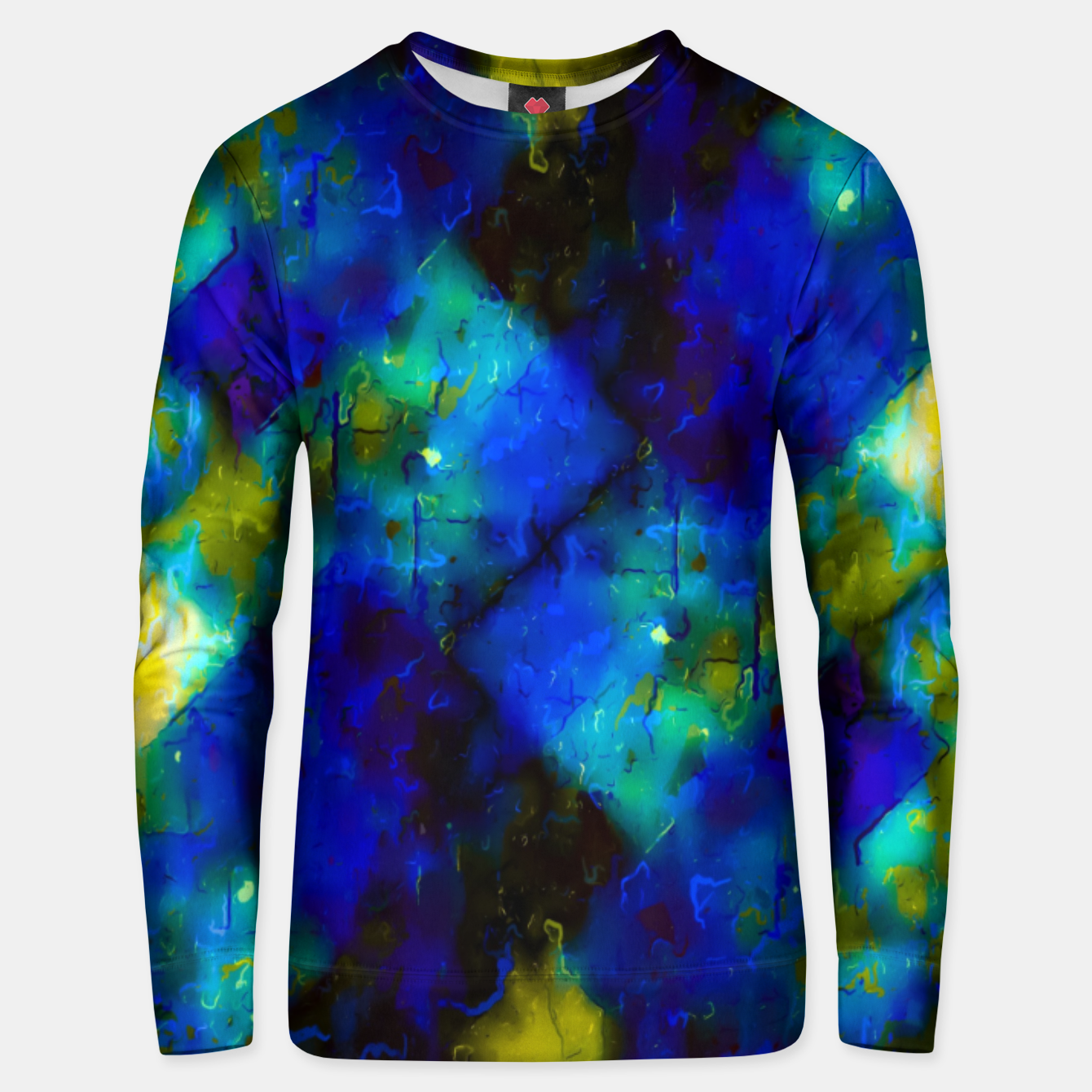 Image of geometric square pixel pattern abstract background in blue yellow green Unisex sweater - Live Heroes
