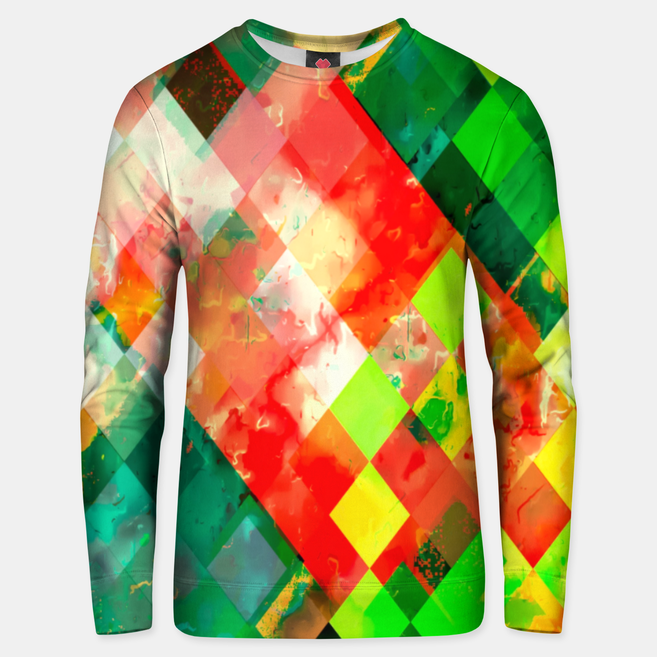 Image of geometric square pixel pattern abstract background in green red yellow Unisex sweater - Live Heroes