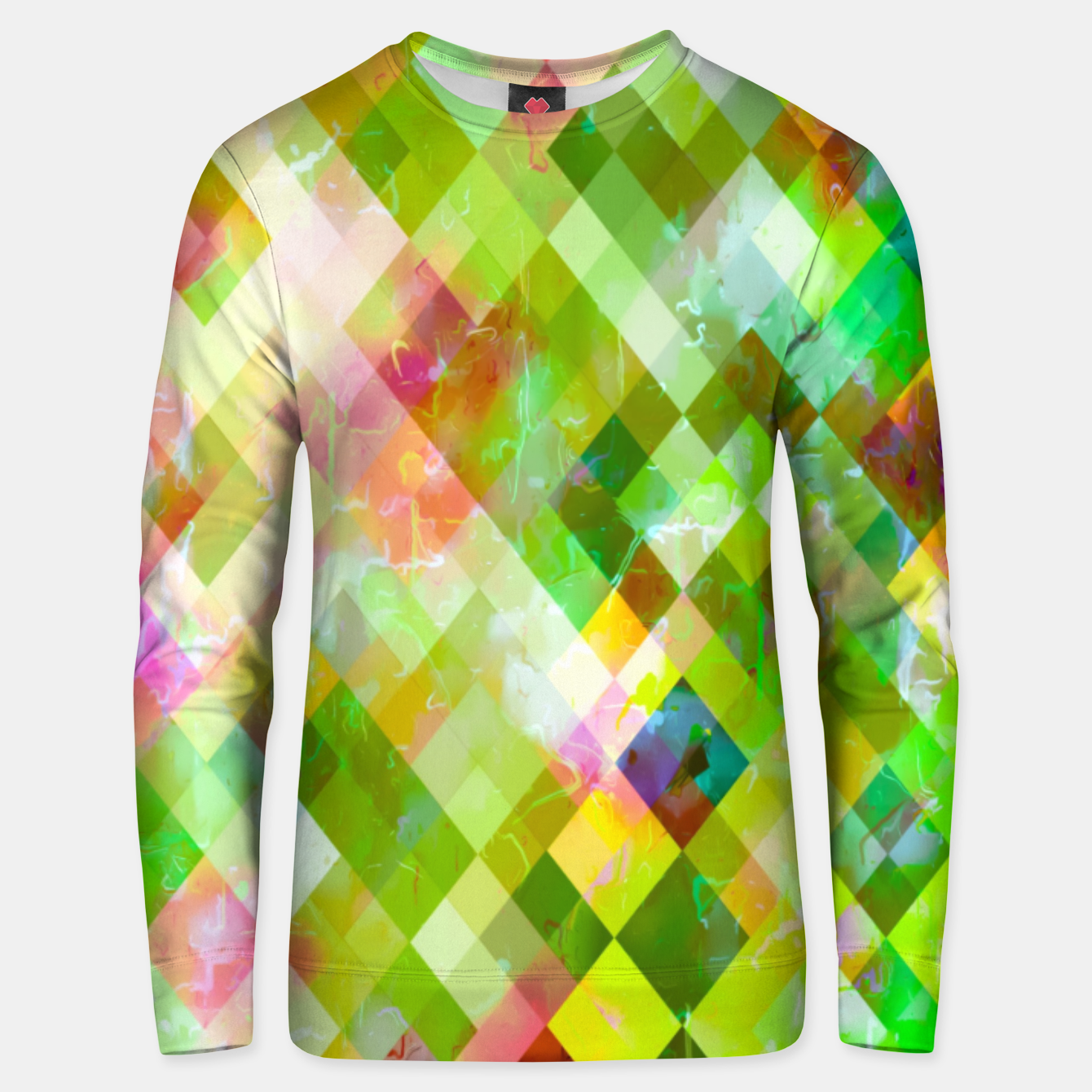 Image of geometric square pixel pattern abstract background in green pink yellow blue Unisex sweater - Live Heroes