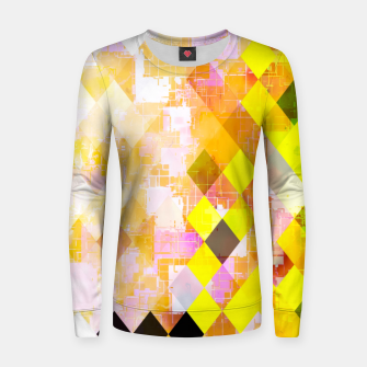 Miniaturka geometric square pixel pattern abstract background in yellow green pink orange Women sweater, Live Heroes