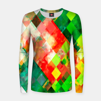 Miniaturka geometric square pixel pattern abstract background in green red yellow Women sweater, Live Heroes