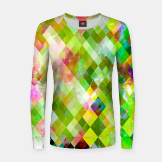 geometric square pixel pattern abstract background in green pink yellow blue Women sweater thumbnail image