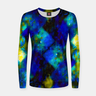 geometric square pixel pattern abstract background in blue yellow green Women sweater thumbnail image