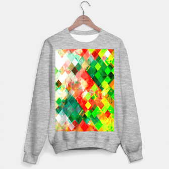 geometric square pixel pattern abstract background in green red yellow Sweater regular thumbnail image