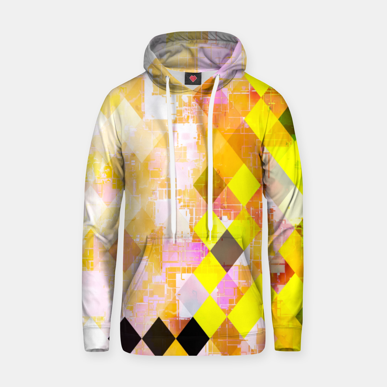 Image of geometric square pixel pattern abstract background in yellow green pink orange Hoodie - Live Heroes
