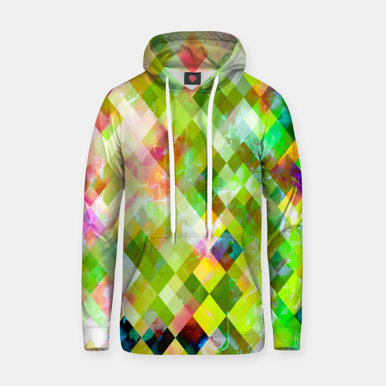Image of geometric square pixel pattern abstract background in green pink yellow blue Hoodie - Live Heroes
