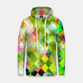 geometric square pixel pattern abstract background in green pink yellow blue Hoodie thumbnail image