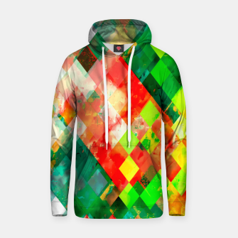 geometric square pixel pattern abstract background in green red yellow Hoodie thumbnail image